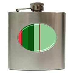 Green and red design Hip Flask (6 oz)