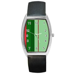 Green and red design Barrel Style Metal Watch