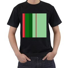 Green and red design Men s T-Shirt (Black) (Two Sided)
