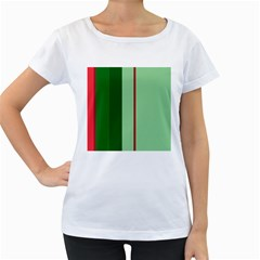 Green and red design Women s Loose-Fit T-Shirt (White)