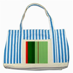Green and red design Striped Blue Tote Bag
