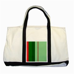 Green and red design Two Tone Tote Bag