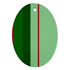 Green and red design Oval Ornament (Two Sides)