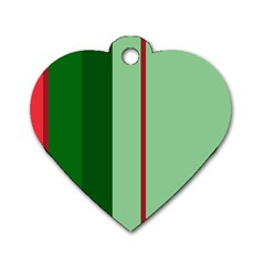 Green and red design Dog Tag Heart (Two Sides)