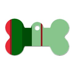 Green and red design Dog Tag Bone (One Side)