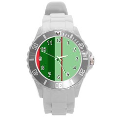 Green and red design Round Plastic Sport Watch (L)