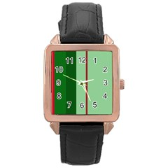 Green and red design Rose Gold Leather Watch