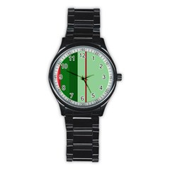 Green and red design Stainless Steel Round Watch