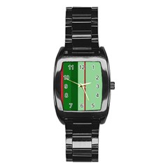 Green and red design Stainless Steel Barrel Watch