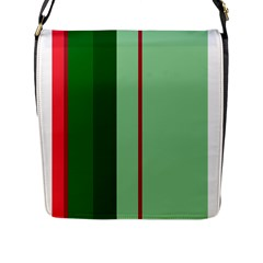 Green and red design Flap Messenger Bag (L)