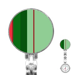 Green and red design Stainless Steel Nurses Watch