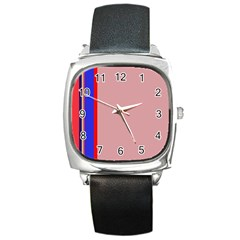 Pink elegant lines Square Metal Watch
