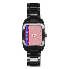 Pink elegant lines Stainless Steel Barrel Watch