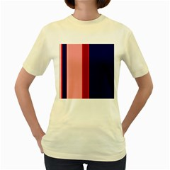 Pink and blue lines Women s Yellow T-Shirt