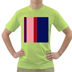 Pink and blue lines Green T-Shirt