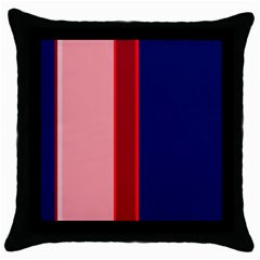 Pink and blue lines Throw Pillow Case (Black)
