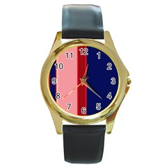 Pink and blue lines Round Gold Metal Watch