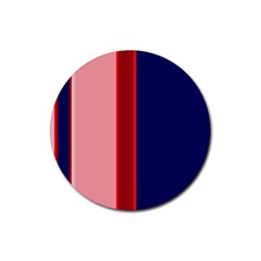 Pink and blue lines Rubber Round Coaster (4 pack)