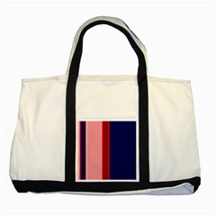 Pink and blue lines Two Tone Tote Bag