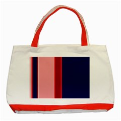 Pink and blue lines Classic Tote Bag (Red)