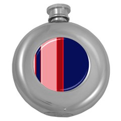 Pink and blue lines Round Hip Flask (5 oz)