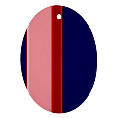Pink and blue lines Oval Ornament (Two Sides)