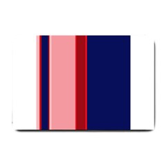 Pink and blue lines Small Doormat