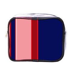 Pink and blue lines Mini Toiletries Bags