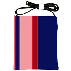 Pink and blue lines Shoulder Sling Bags