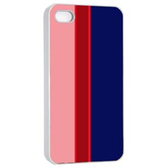 Pink and blue lines Apple iPhone 4/4s Seamless Case (White)