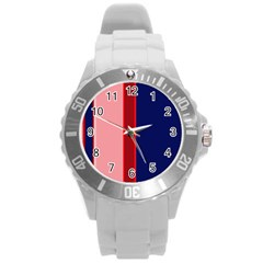 Pink and blue lines Round Plastic Sport Watch (L)