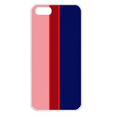 Pink and blue lines Apple iPhone 5 Seamless Case (White)