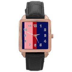 Pink and blue lines Rose Gold Leather Watch