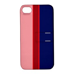 Pink and blue lines Apple iPhone 4/4S Hardshell Case with Stand