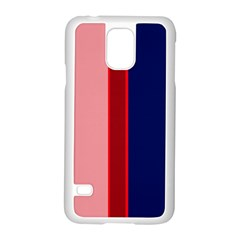 Pink and blue lines Samsung Galaxy S5 Case (White)