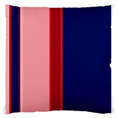 Pink and blue lines Large Flano Cushion Case (One Side)