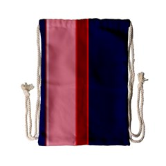 Pink and blue lines Drawstring Bag (Small)