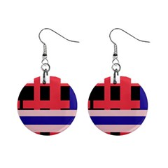 Red abstraction Mini Button Earrings