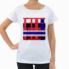 Red abstraction Women s Loose-Fit T-Shirt (White)