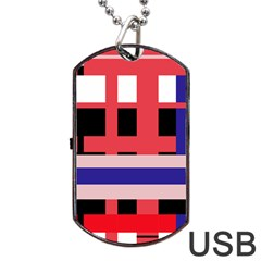 Red abstraction Dog Tag USB Flash (One Side)