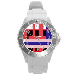 Red abstraction Round Plastic Sport Watch (L)