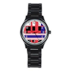 Red abstraction Stainless Steel Round Watch