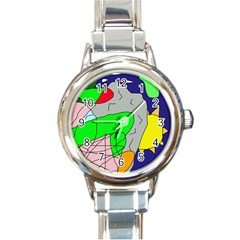 Crazy abstraction Round Italian Charm Watch
