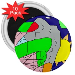 Crazy abstraction 3  Magnets (10 pack)