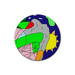 Crazy abstraction Rubber Coaster (Round)
