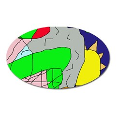Crazy abstraction Oval Magnet