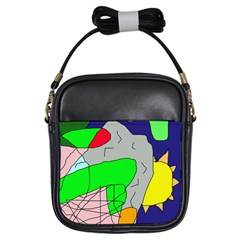 Crazy abstraction Girls Sling Bags
