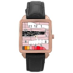 Worms Rose Gold Leather Watch
