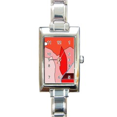 Red landscape Rectangle Italian Charm Watch