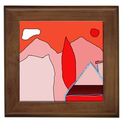 Red landscape Framed Tiles